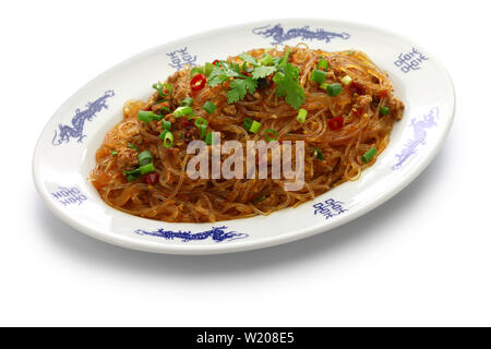 spicy stir fry vermicelli with minced pork, classic Sichuan dish in chinese cuisine called ' Ants climbing a tree ' - Stock Photo