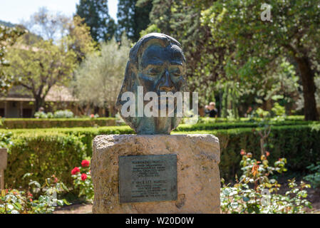 MALLORCA, SPAIN - May 7, 2019: Sculpture of Fryderyk Chopin near the Real Cartuja, an old monastery where Chopin and George Sand lived during the wint - Stock Photo