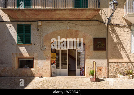MALLORCA, SPAIN - May 7, 2019: Entrance to the museum of Fryderyk Chopin. Chopin and George Sand lived in Valldemossa during the winter of 1838-1839, - Stock Photo