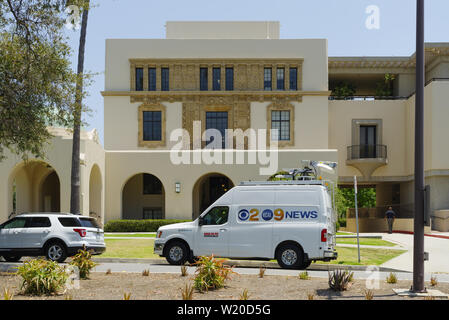 News media vans at the California Institute of Technology Seismological Laboratory after an 6.4 magnitude earthquake hit near Ridgecrest. - Stock Photo