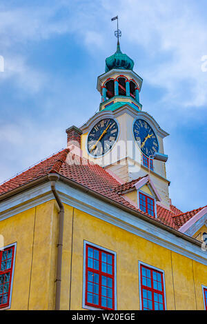 Rauma Old Town Hall is a building located in the UNESCO World Heritage Site of Old Rauma in Rauma, Finland. - Stock Photo