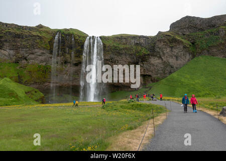 The Seljalandsfoss waterfall on the south coast of Iceland. - Stock Photo
