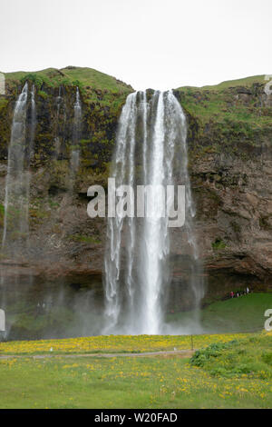 The Seljalandsfoss waterfall on the south coast of Iceland. - Stock Photo