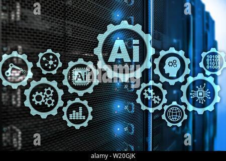 Artificial intelligence hi-tech business technologies concept. Futuristic server room background. AI - Stock Photo