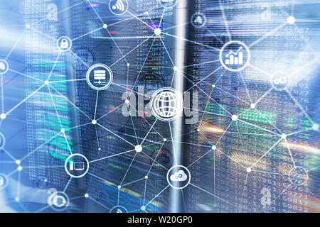 ICT - information and telecommunication technology and IOT - internet of things concepts. Diagrams with icons on server room backgrounds - Stock Photo