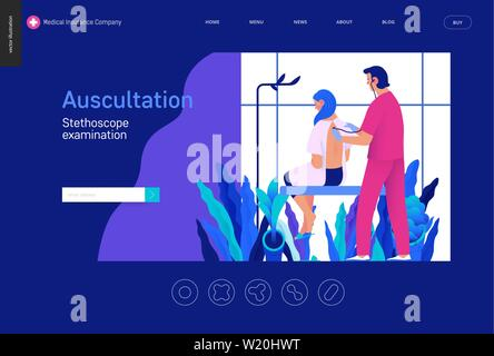 Medical tests Blue template - auscultation -modern flat vector concept digital illustration of stethoscope examination procedure - patient and doctor - Stock Photo