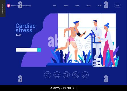 Medical tests Blue template - cardiac stress test -modern flat vector concept digital illustration, stress test procedure -patient with sensors on tre - Stock Photo