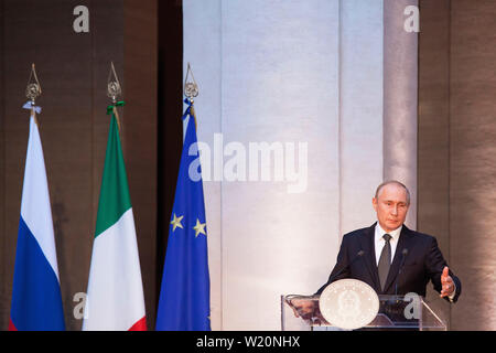 Vladimir Putin, Russia's president, speaks during a joint news conference with Giuseppe Conte - Stock Photo