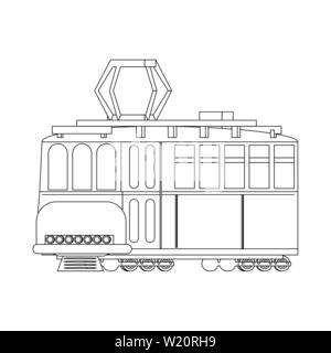 Tranvia public tranport vehicle isolated in black and white - Stock Photo
