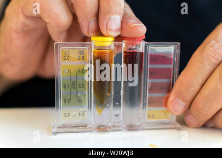 Analysis of the PH and chlorine of the water in a swimming pool in Summer. Measurement of chlorine and PH of a pool BANNER. Cleaner Kit. Spain, 2019. - Stock Photo