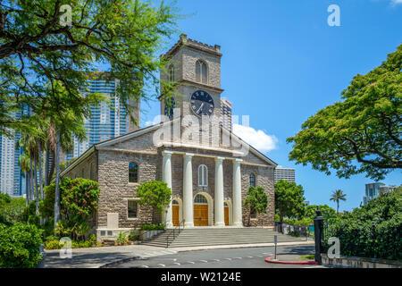Kawaiahao Church at Honolulu, Oahu, Hawaii Stock Photo