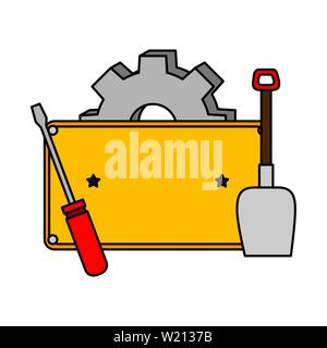 metal plate with screwdriver and tools - Stock Photo