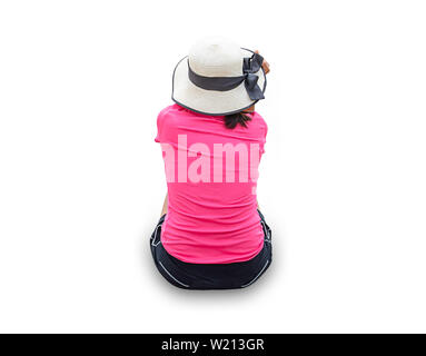 The image behind Woman wearing Hat sitting on a white background with clipping path. - Stock Photo