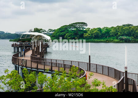Singapore - Aug 4, 2018: Lower Seletar Reservoir is a reservoir located in the northeastern part of Singapore, to the east of Yishun New Town. - Stock Photo