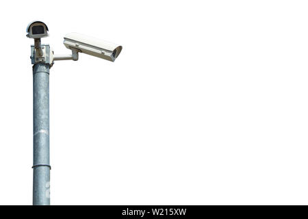 CCTV cameras installed at the corner on white background. - Stock Photo