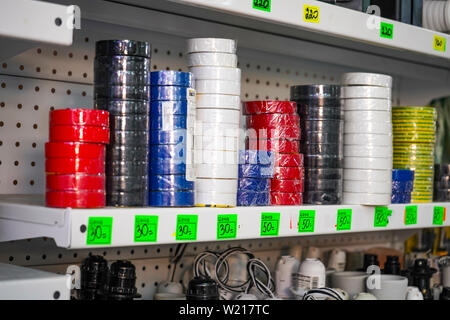 Chelyabinsk Region, Russia - June 2019. Electrical goods store. Sale of electrical tape. - Stock Photo