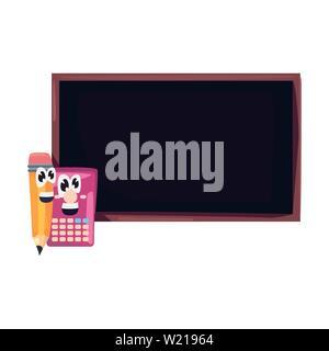 chalkboard calculator pencil cartoon back to school flat design vector illustration - Stock Photo