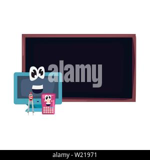 computer chalkboard calculator compass cartoon back to school flat design vector illustration - Stock Photo