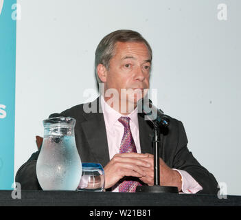 Nigel Farage, A Brexit Party statement and presentation of policy over postal votes. Electoral reform and the defence of Democracy, 10 Carlton Terrace, London. - Stock Photo