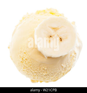 A scoop of banana ice cream with banana slice from the top - Stock Photo