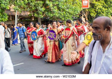Jagannath Rath Yatra 2019 in Kolkata, West Bengal , India - Stock Photo
