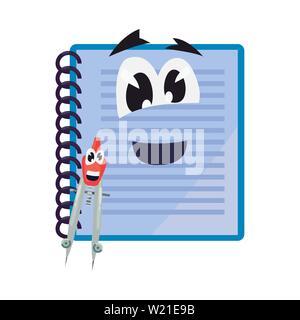 notebook compass cartoon back to school flat design vector illustration - Stock Photo
