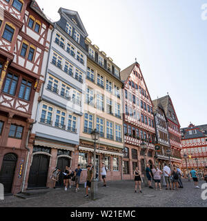 Frankfurt, Germany. July 2019.   The typical houses overlooking the Römerberg square in the city center - Stock Photo