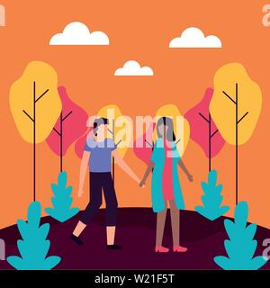 couple romantic activities flat design - Stock Photo