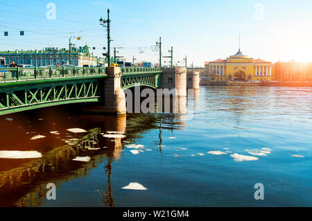 Admiralty arch on the embankment of Neva river and Palace bridge in Saint Petersburg,Russia - city landscape - Stock Photo