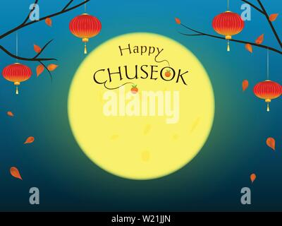 Happy Chuseok background with moon and text. - Stock Photo