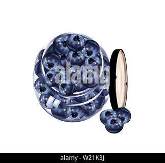 Delicious Blueberries in a glass jar - Stock Photo