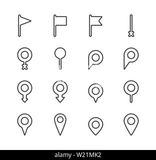 Set of map pointer line icon. Navigation signs in different styles. Location pin symbol - Stock Photo