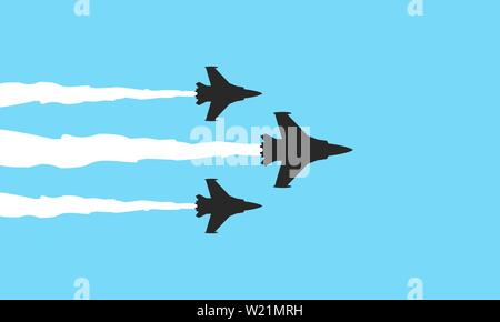 Three military fighters symbols on blue background. Jets show vector illustration - Stock Photo