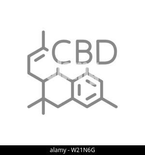 CBD molecular formula, cannabidiol molecule structure line icon. - Stock Photo