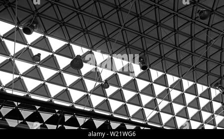 Budapest, Hungary - May 30, 2019: inside of an abandoned gallery's roof in Budapest - Stock Photo