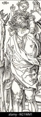 Albrecht Dürer - Saint Christopher Carrying Christ Child 15 - Stock Photo
