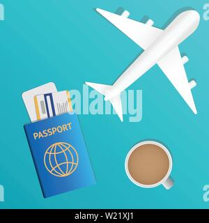 Air travel banner. Passport - vacation concept design. Banner with airplane and vacation tickets. Vector illustration - Stock Photo