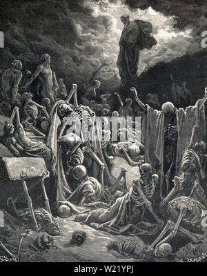 Gustave Doré - Vision Valley Dry Bones 1866 - Stock Photo
