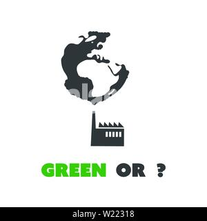 Green Or? - Eco Earth Globe Concept Design, Reusable, Renewable Energy, Pollution, Global Warming, Greenhouse Effect Creative Design Vector - Stock Photo