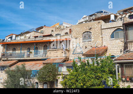 Building with Star of David on it in Tzfat, Israel - Stock Photo
