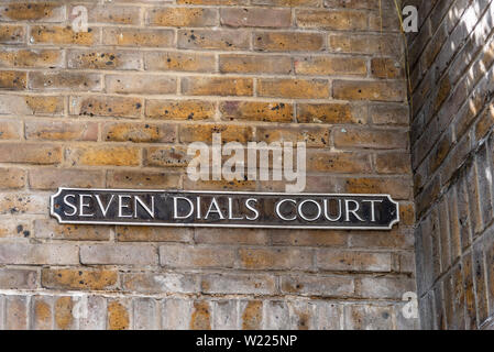 London, UK - May 15, 2019:  Seven Dials Court street name sign - Stock Photo