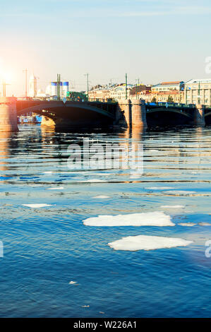 Exchange Bridge over the Neva river in Saint Petersburg,Russia - Stock Photo