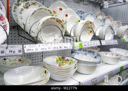 Chelyabinsk Region, Russia - June 2019. Shopping and entertainment complex Spring . Shelves with faience. - Stock Photo