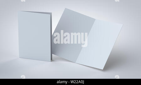 Blank white bi-fold/2-fold booklet, 3D rendering opened and closed, front and back side mock up, with soft shadows in a close view. - Stock Photo