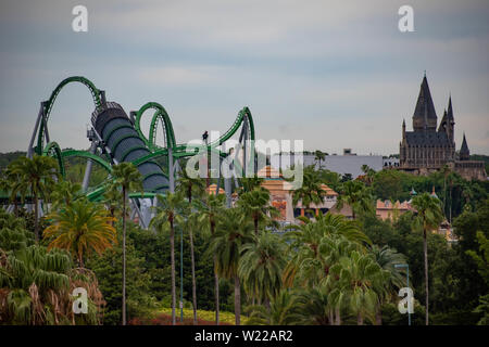 Orlando, Florida. June 13, 2019. Top view of Island of Adventure at Universal Studios area. - Stock Photo