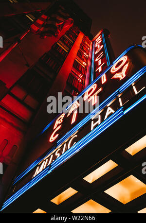 RADIO CITY MUSIC HALL - Outside photo of Radio City Music Hall, April 2019, New York, NY, USA - Stock Photo