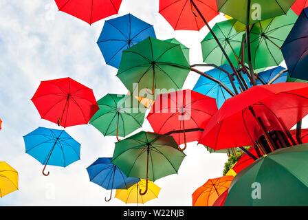 Colorful umbrellas;