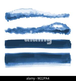 Deep blue watercolor shapes, splotches, stains, paint brush strokes. Abstract watercolor texture backgrounds set. Deep blue. Navy blue. Isolated. - Stock Photo