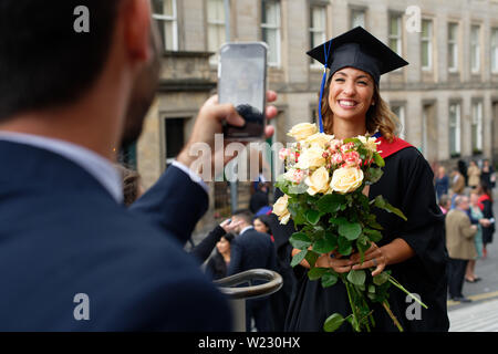 Edinburgh    July  05 2019; Napier University graduation ceremony at the Usher Hall with participants spilling out from the hall after the event.   cr - Stock Photo