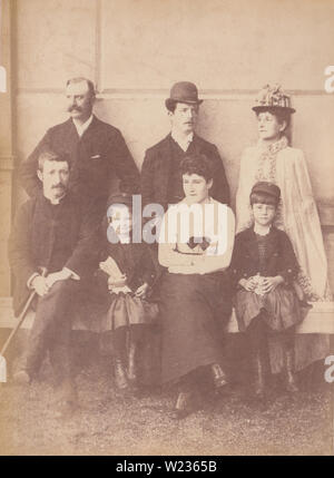 Victorian Late 1880's / Early 1890's Photograph of a Fashionable Family - Stock Photo